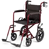 "Medline MDS808210AB Aluminum Transport Chair with 12"" Wheels, Blue"