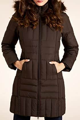 Per Una Faux Fur Detachable Hood Longline Jacket [T62-7908G-S]
