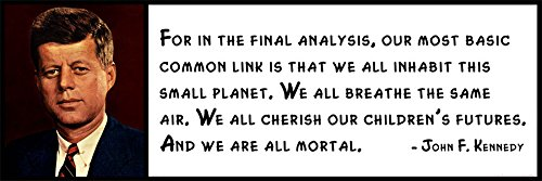 Wall Quote - John F. Kennedy - For in the Final Analysis, Our Most Basic Common Link Is That We All Inhabit This Small Planet. We All Breathe the Same Air. We All Cherish Our Children's Futures