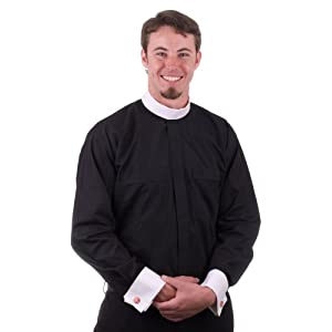 "MDS ""Neckband Clergy Shirt with White French Cuffs"""