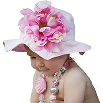 Melondipity Girls Princess Peony Baby Sun Hat - Beautiful, Premium Bucket, Floppy Flower Cap Light Pink Colorway Beach and Pool (3 - 12 Months)