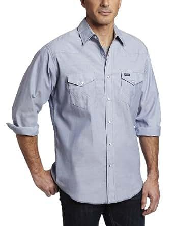 Wrangler Men's Big And Tall Authentic Cowboy Cut Work Western Shirt, Medium Wash, 16 1/2 37