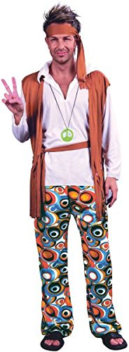 "Hippy Man Plus Size. (Adult Costumes) Male Chest Size 46"""" 50"""" - Brown"