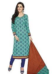 RK Fashion Womens Cotton Un-Stitched Salwar Suit Dupatta Material ( Rajguru-Ganpati-5012-Blue-Free Size )