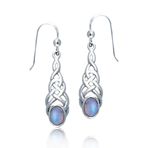Bling Jewelry Moonstone Oval Celtic Knotwork Dangle Earrings 925 Sterling Silver