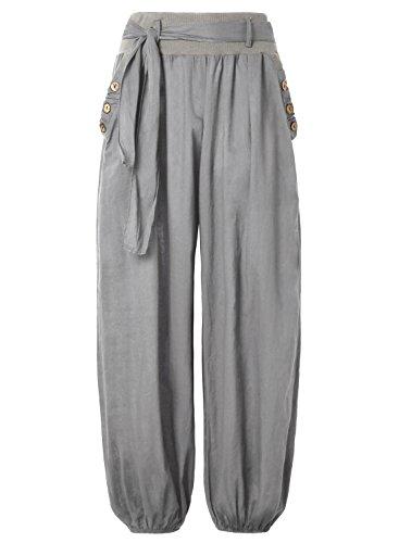 BAISHENGGT Pantaloni Vita larga Harem casuale elastico Grigio X-Large