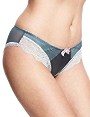Limited Collection Low Rise Floral Lace Brazilian Knickers with Silk
