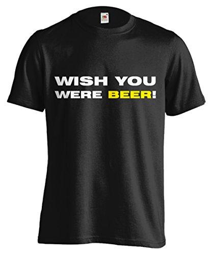 T-shirt Uomo - Wish you were beer - Maglietta divertente 100% cotone LaMAGLIERIA,L,Nero