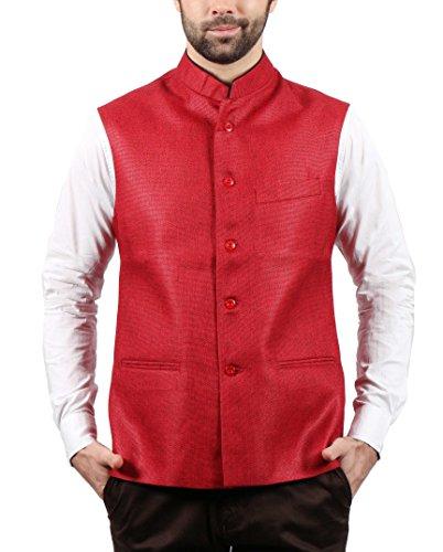 SOLEMIO Men Poly Cotton Ethnic Jackets (A15JK5500ERD_M_RD_Medium)