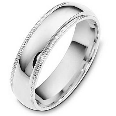 10K White Gold, Light Comfort Milgrain Band6MM (sz 10.5)
