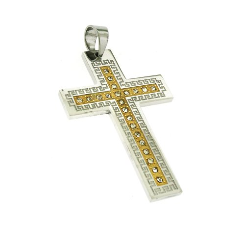 Two Tone Stainless Steel Ornament Cross CZ Pendant