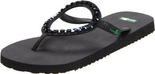 Sanuk Women's Ibiza Gem Flip Flop Sandal,Gem Black,8 M US