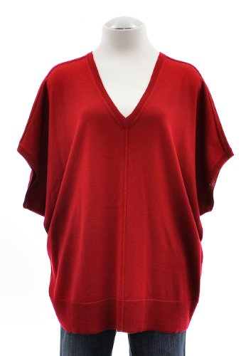 Eileen Fisher Red V-Neck Merino Wool Poncho Sweater Large