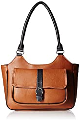 Fantosy Women's Handbag (Tan and Black) (FNB-386)