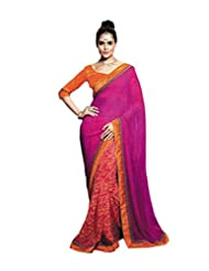 Status Pink Color Peach Shade Georgette Saree.