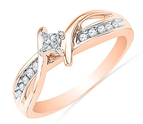 0.58 Carat Engagement Ring on Sale with Princess cut Diamond on 14K Rose gold