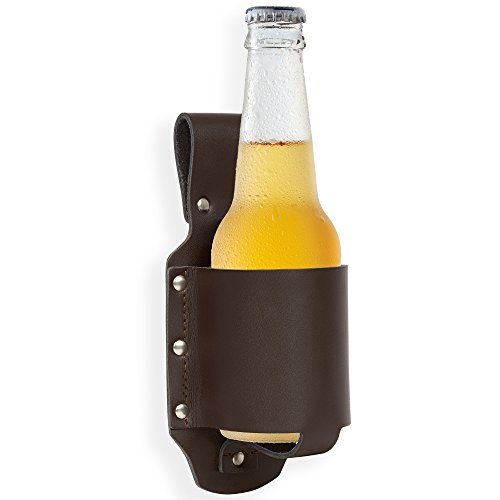 GreatGadgets 1880 Genuine Leather Classic Beer Holster, Espresso Brown