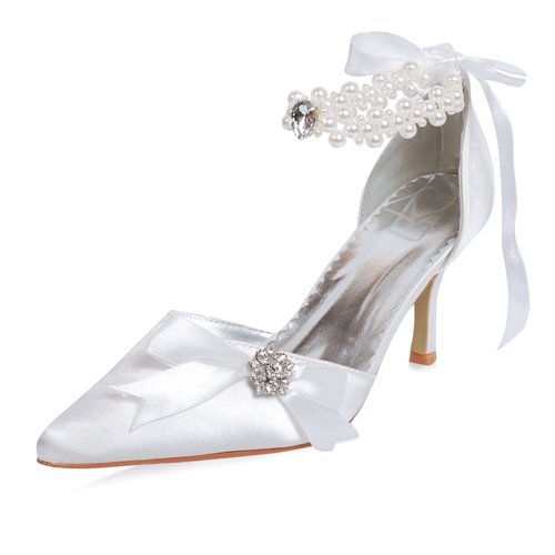 Women's Satin upper Mid Heel Pumps Closed-toes Alternate Ankle-Straps With Rhinestone Wedding Bridal Shoes (Size: 8.5 B(M) US/Ivory)