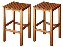 Fancy Buy LuuNguyen Joe Outdoor Hardwood Bar Height Chair Natural Wood Finish Set of