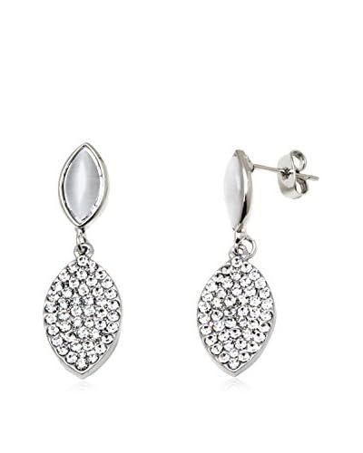 Barzel White Double Leaf Drop Earrings with Swarovski Elements