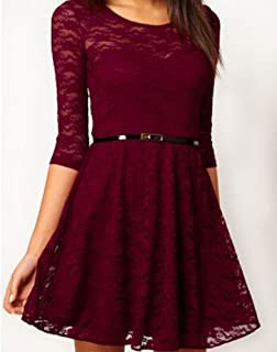 Ostart Sexy Lady Lace 3/4 Sleeve One-piece Dress (10, Wine Red)