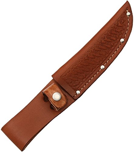Sheath Fixed Knife Sheath, Brown basketweave leather,Fits up to 5in blade (5 Knife Fixed Blade compare prices)