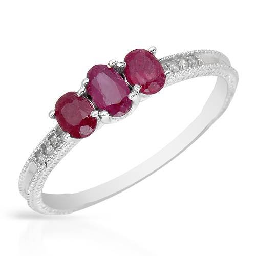 Ring With 0.90ctw Precious Stones - Genuine Diamonds and Rubies Made in White Gold (Size 8)