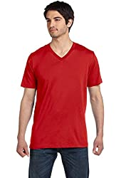 Canvas Unisex 4.2 oz. V-Neck Jersey T-Shirt> RED