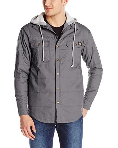 Dickies Men's Quilted Snap Front Overshirt with Hood