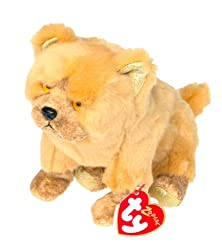 Ty Beanie Babies Zodiac Fluffly Dog With Gold Paw Bottoms [Toy]