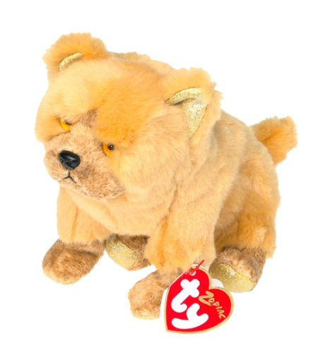 Ty Beanie Babies - Zodiac Fluffly Dog with Gold Paw bottoms [Toy]
