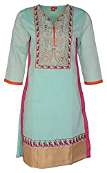 Zele Women's Straight Kurti (Z0015_Multi-Colour_X-Large)