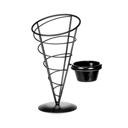 "Tablecraft Acr59 Black 5 X 9"" Metal Appetizer Cone With Ramekin"