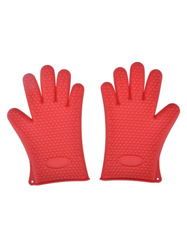 Amc Silicone Heat Resistant Grilling Gloves Set Oven Golves With Fingers, Red