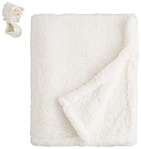 Piccolo Bambino 2 Count Lamy Stroller Blanket with Wrist Rattle, White