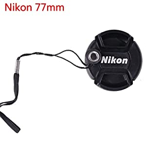 CowboyStudio 77mm Center Pinch Snap-on Lens Cap for Nikon Lens Replaces LC 77 - Includes Lens Cap Holder