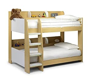 Domino, Maple and WHITE Finished SLEEP STATION Childrens Kids BUNK BED, with MEMORY FOAM MATTRESS