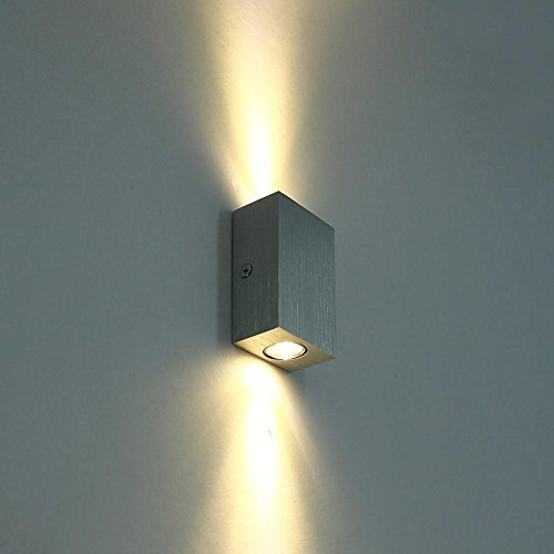Deckey 2W Warm White LED Wall Sconces Light Fixture Hardwired Two Lights up Down Light for ...