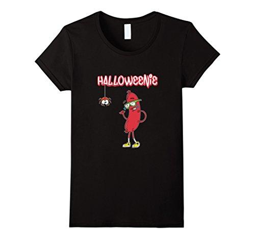 [Women's Halloweenie Funny Spider Hot Dog Weiner Cute Costume T-Shirt Small Black] (Funny Weiner Dog Costumes)