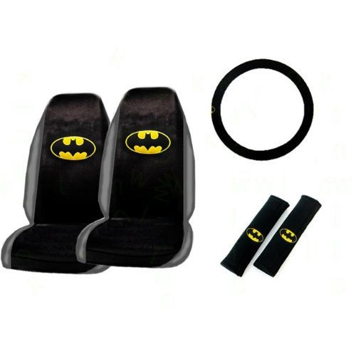 5-Piece Batman Classic Logo Auto Interior Gift Set- A Set of 2 Universal Fit Seat Covers, 1 Steering Wheel Cover, and 2 Shoulder Pads