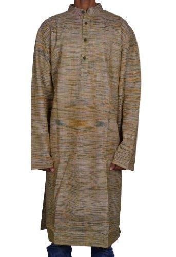 Mens Casual Cotton Long Khadi Kurta Fabric For Winter & Summers Size 3XL
