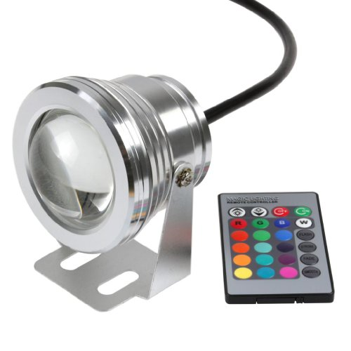Lemonbest Remote Control 10w 12v Waterproof RGB LED Underwater Light for Landscape Fountain Pond Lighting