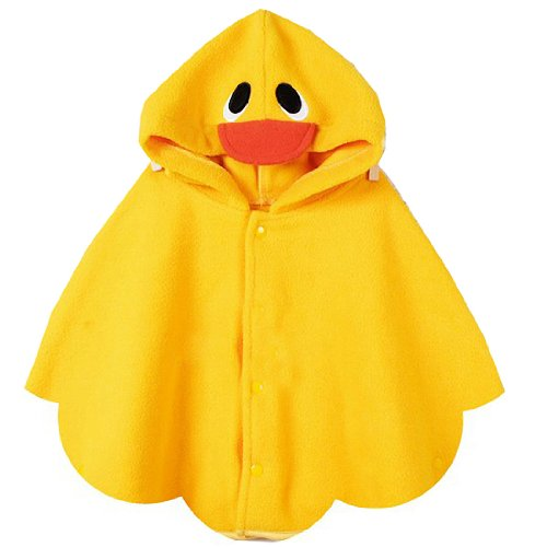 Children Hooded Duck Cloak Kids Girl/Boy Poncho Mantle Wraps Coat Yellow,Medium
