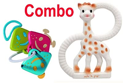 Sophie The Giraffe Vanilla Teething Ring - Plus Vulli Chan Pie Gnon Rattle Keys and Teether - Comes In Gift Boxes! by Vulli