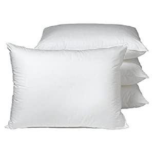 4 Luxurious 100% Gel Fiber Filled Down Alternative Pillows. (Set of 4) Medium Density (45.5 Ounces of Fill) KING Size 20x36