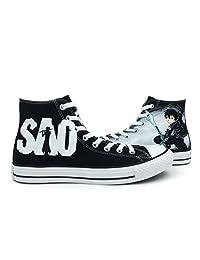 Black Converse Sword Art Online Hand Painted Canvas Sneaker Custom All Star Shoes Men Women