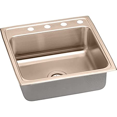 Elkao|#Elkay LRAD2222654-CU 18 Gauge Cuverro Antimicrobial copper 22 Inch x 6.5 Inch single Bowl Top Mount Sink 4 Hole,