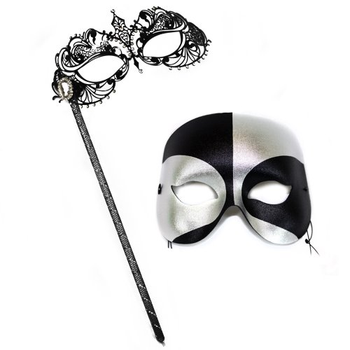 Corrine Stick Mask-Black-Silver Masquerade Mask for a Couple