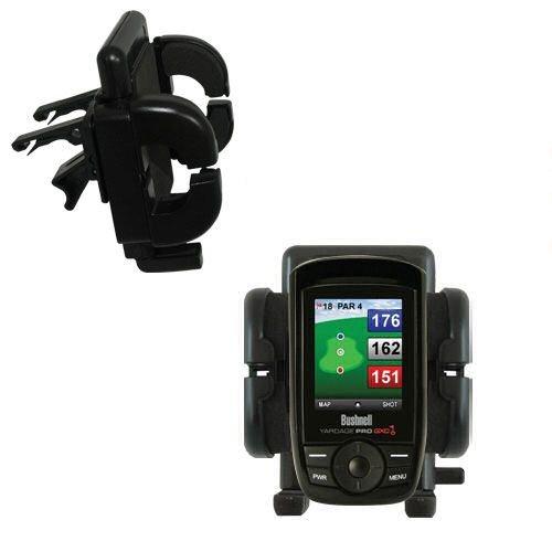 Gomadic Air Vent Clip Based Cradle Holder Car / Auto Mount Suitable For The Bushnell Yardage Pro Xgc Xg - Lifetime Warranty
