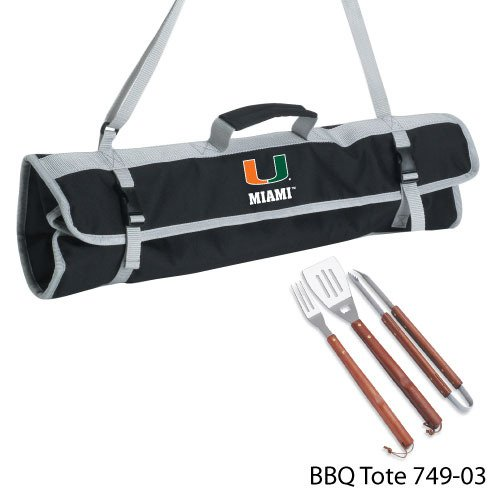 Ncaa Miami Hurricanes 3-Piece BBQ Tool Set With Tote
